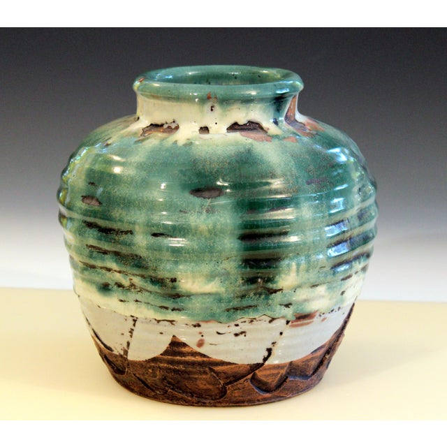 Awaji Pottery Manipulated Jar Heavy Drip Lava Glaze Wabi Sabi Tea Ceremony Vase For Sale - Image 4 of 12