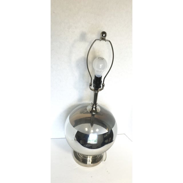 Mid-Century Round Silver Stripe Lamp - Image 4 of 7