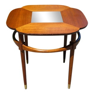 Vintage Mid Century Modern Walnut 4 Leaf Clover Table W/ Black Glass Inset For Sale