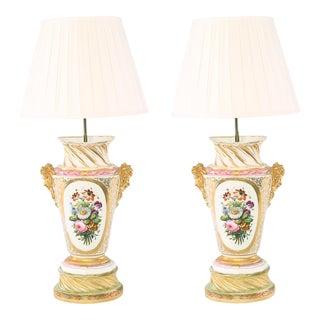 Large 19th Century Gilt Porcelain Table Lamps - a Pair For Sale
