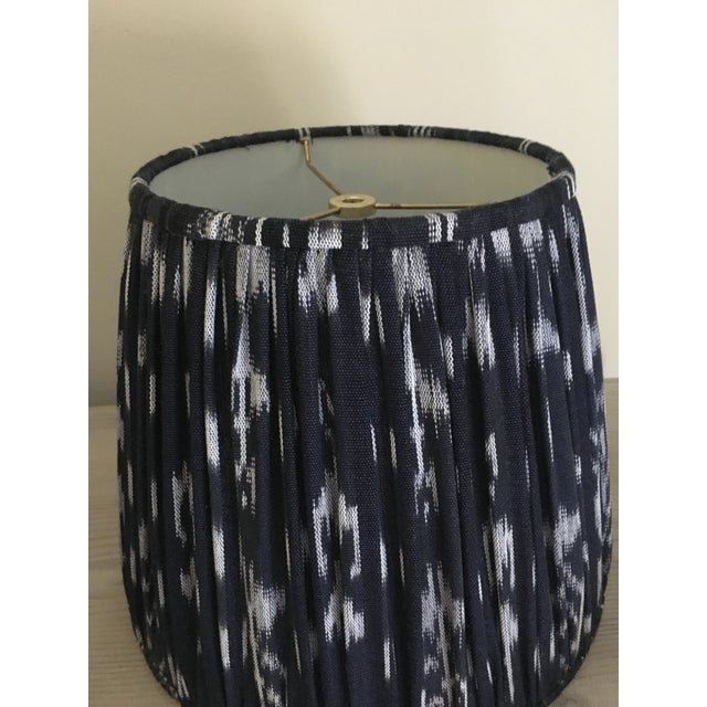 Shirred Indigo Ikat Lampshades - A Pair - Image 8 of 8