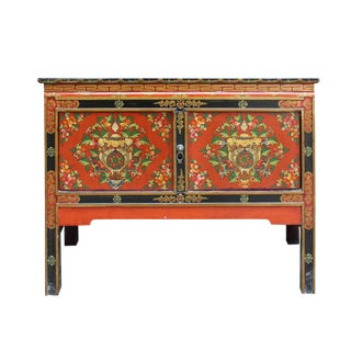 Tibetan Oriental Black Orange Red Floral End Table Nightstand Side Table For Sale