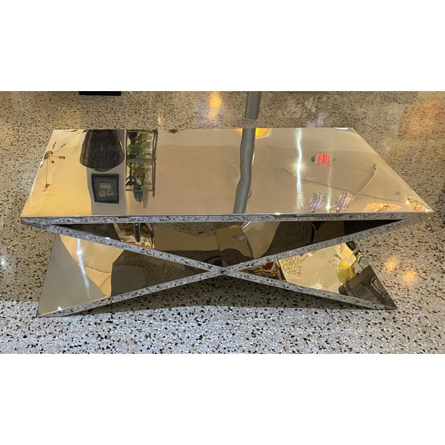 Silver X Base Cocktail Table Polished Nickel Plated Italian Modern For Sale - Image 8 of 11