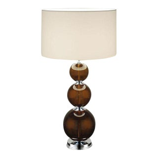 Topaz and Chrome Table Lamp With Shade For Sale
