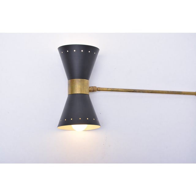 Italian Two-Armed Adjustable Metal Wall Lamp With Brass Elements For Sale - Image 6 of 9