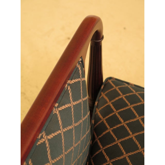 Traditional Vintage Thomasville Mahogany Sheraton Upholstered Club Chair For Sale - Image 3 of 11