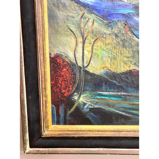 1970s Large Vintage Oil on Canvas Signed Charles Melohs Nighttime Scene Painting Framed For Sale - Image 5 of 10