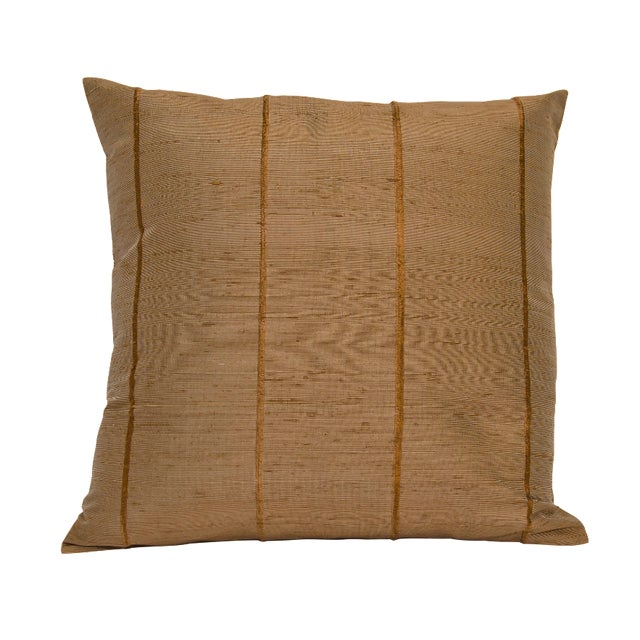 Mocha Striped Raw Silk Square Pillow Cover - Image 1 of 4