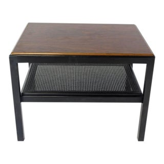 Mid-Century Modern Rosewood Top Black Lacquer Side Coffee Table For Sale