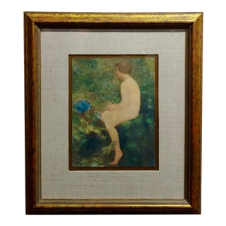 Lillian Mathilde Genth -Nude by the Stream - Painting -C.1910s For Sale