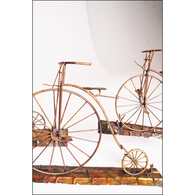 Mid Century Modern Gold Metal Penny Farthing Wall Art - Image 3 of 11