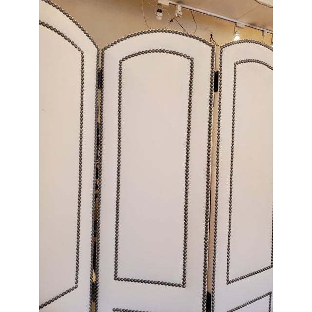 Cream Upholstered 4 Panel Screen With Nailheads For Sale - Image 8 of 11
