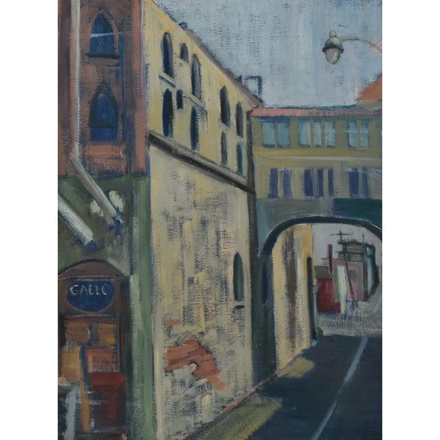 Canvas Midcentury Vintage European Village Street Oil Painting For Sale - Image 7 of 10