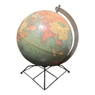 Mid-Century Modern Globe With Modern Black Metal Base For Sale