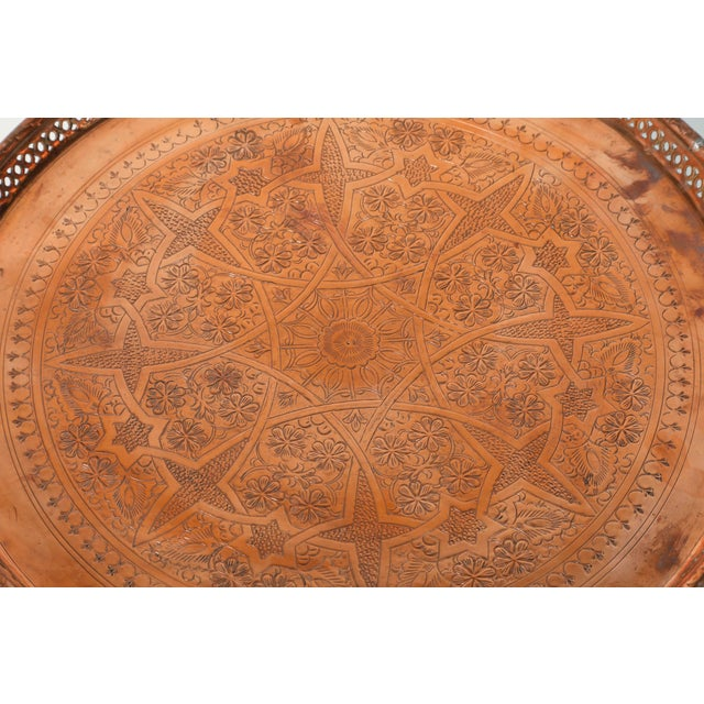Islamic Moroccan Copper Tray Table With Folding Base For Sale - Image 3 of 11