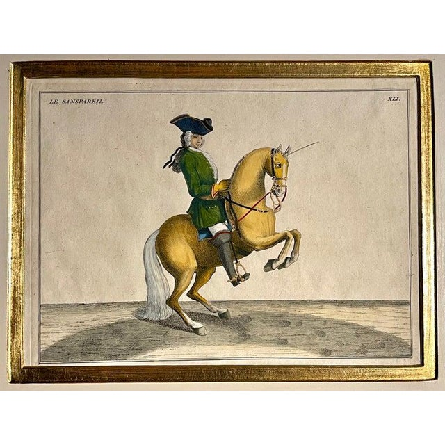 Red Four Engravings of Horse Riders L' Aimable, Le Joli, Le Sanspareil, Le Poupon For Sale - Image 8 of 11