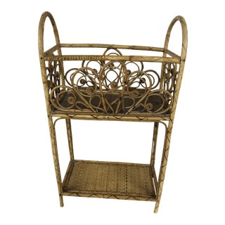 Vintage Bamboo Planter Stand/Magazine Stand With Shelf For Sale