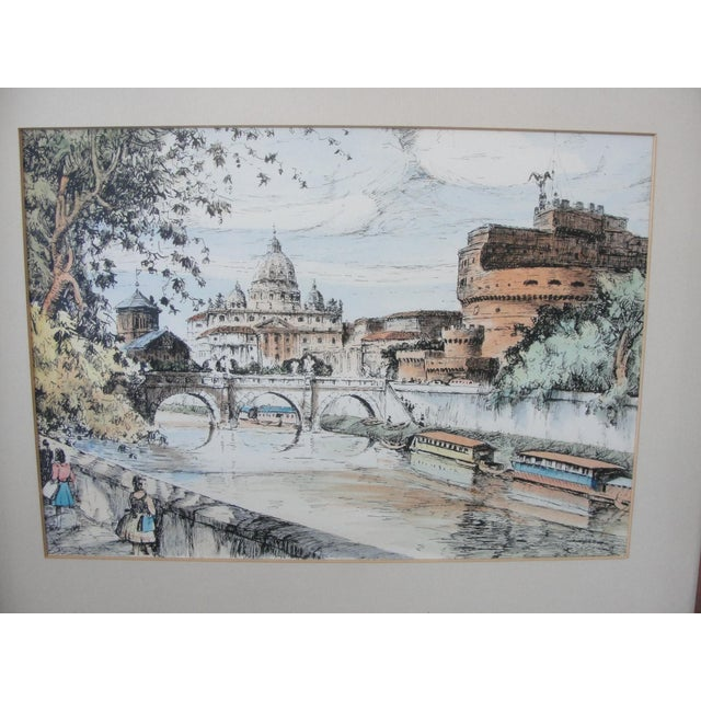 Mid-Century European Watercolor Painting - Image 3 of 7