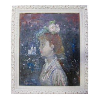 1950s Victorian Girl Notre Dame Cathedral French Impressionist Oil Portrait Painting For Sale