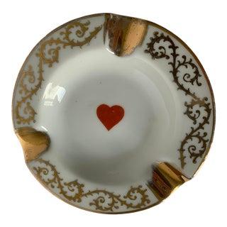 Limoges Gold Heart Motif Ashtray For Sale