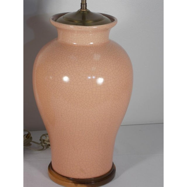 Orange Mid-Century Peach Crackle Glaze Pottery Jar Table Lamps - a Pair For Sale - Image 8 of 13