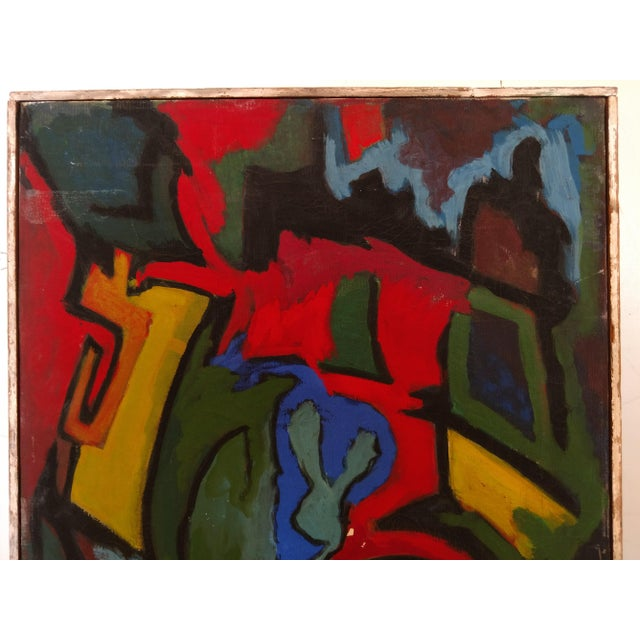 This is a great Mid-Century Abstract Painting, by Edgar W. Johnson (a listed painter). He had a wonderful use of vivid...