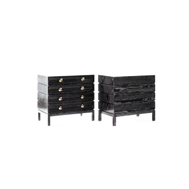 Stamford Modern's Stacked Bedside Tables in Black Ceruse - a Pair For Sale - Image 4 of 11