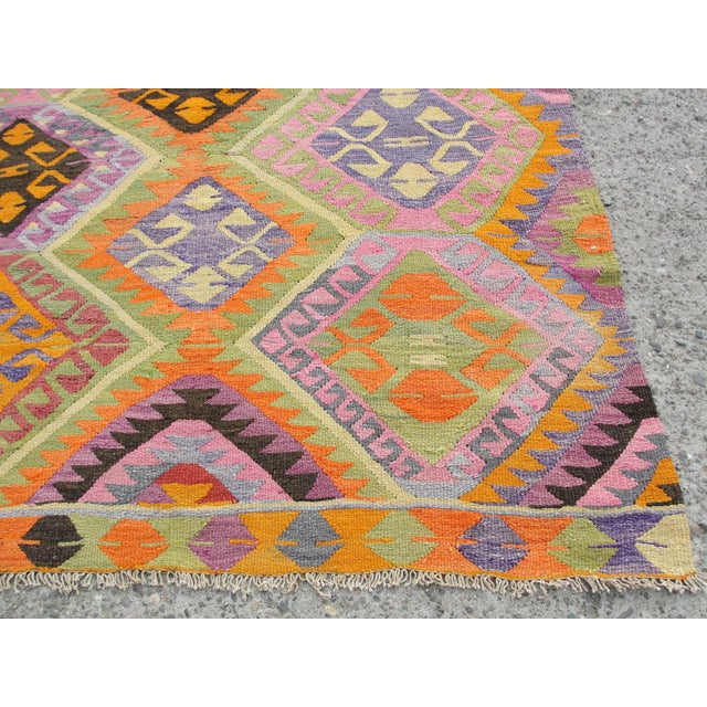 Orange Vintage Turkish Kilim Rug - 5′5″ × 7′8″ For Sale - Image 8 of 11