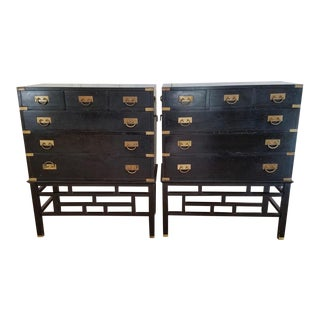 1950s Vintage Steihl Black Lacquer Dressers- a Pair For Sale