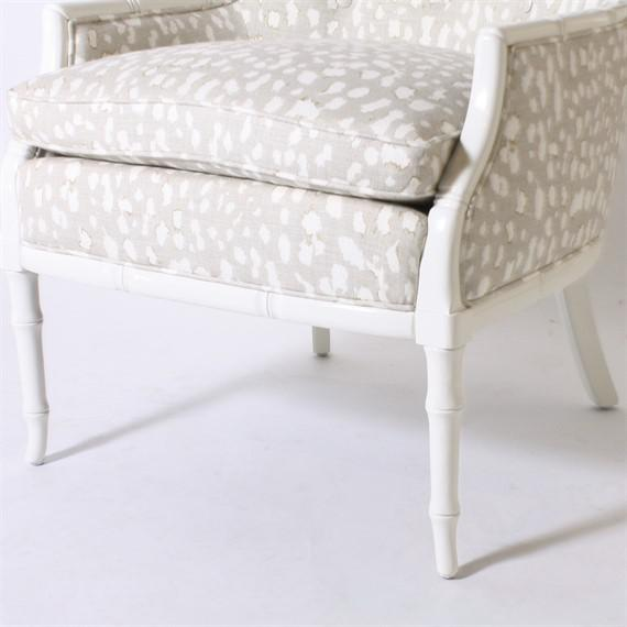 Faux bamboo club chair, circa 1960, upholstered in Jan Showers for Kravet fabric
