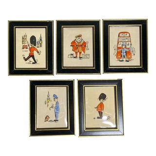 1960s London Novelty Tourist Miniature Cartoons, Framed - Set of 5 For Sale