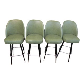 Vintage Mid Century Modern Bar Stools- Set of 4 For Sale