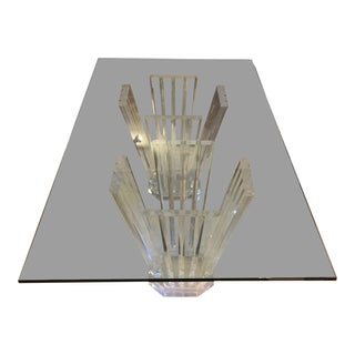 1980s Vintage Lucite Double Pedestal Glass Top Dining Table For Sale