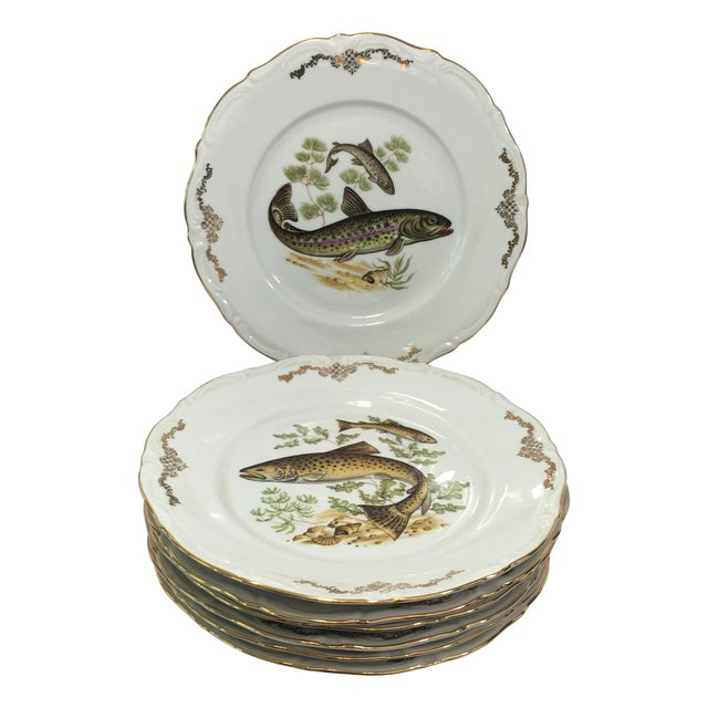 Bavarian Winterling China Fish Pattern Plates - 7 For Sale