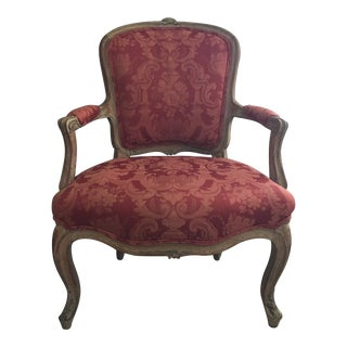 French Red Arm Chair For Sale