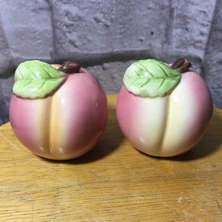 Vintage Peach Shaped Figural Salt & Pepper Shakers - a Pair Preview