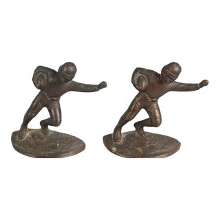 1920s Hubley Cast Iron Football Player Bookends - a Pair For Sale