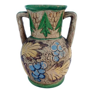 Vintage Green Blue Yellow Japanese Ceramic Akahada Earthenware For Sale