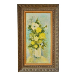 """Vintage Framed Mid-Century Flower Painting on Canvas """"White Vase"""" by Emily Whaley For Sale"""