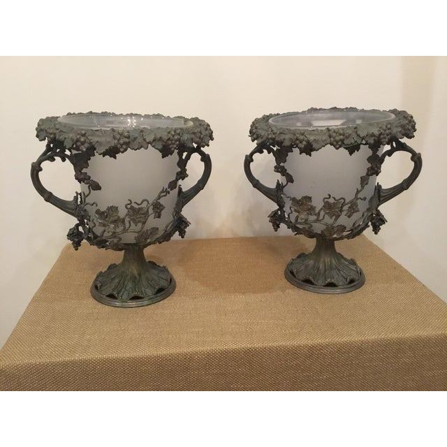 19th Century Antique Glass and Metal Urns - a Pair For Sale - Image 9 of 9