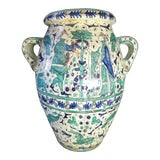 Image of 1900s Italian Majolica Terra Cotta Urn or Floor Vase by Ulisse Cantagalli For Sale