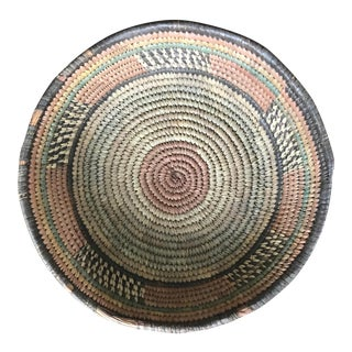 Vintage Handwoven Grass Basket For Sale