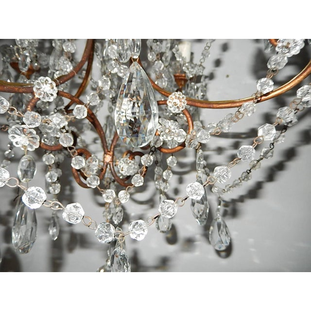 Glass 1920, French, Swags and Crystal Prisms Chandelier For Sale - Image 7 of 9