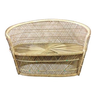 Vintage Rattan and Wicker Settee
