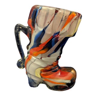 1960s Orange and Blue Murano Italian Hand Blown Art Glass Boot For Sale