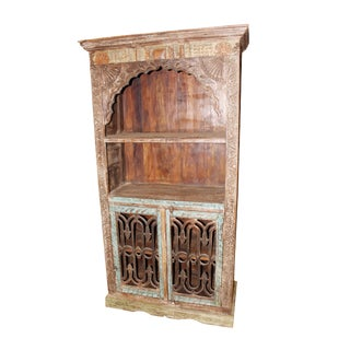 Antique Indian Arch Bookcase Iron Doors Eclectic Bookshelf