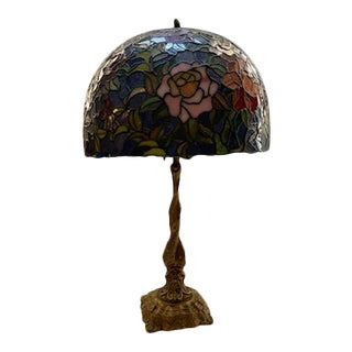 Art Nouveau Dolphin Table Lamp With Tiffany Style Mosaic Stain Glass Shade For Sale