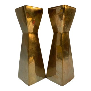 Mid 20th Century Cubist Brass Candle Holders - a Pair For Sale