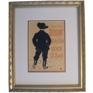"Framed 1950 Toulouse Lautrec ""Mirliton Bruant"" Poster"