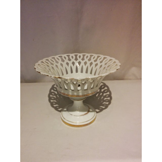 Antique Parisian White Porcelain Fruit Basket - Image 3 of 9